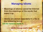 managing idioms