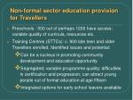 non formal sector education provision for travellers