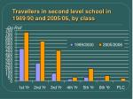 travellers in second level school in 1989 90 and 2005 06 by class