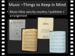 music things to keep in mind
