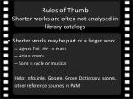rules of thumb shorter works are often not analysed in library catalogs