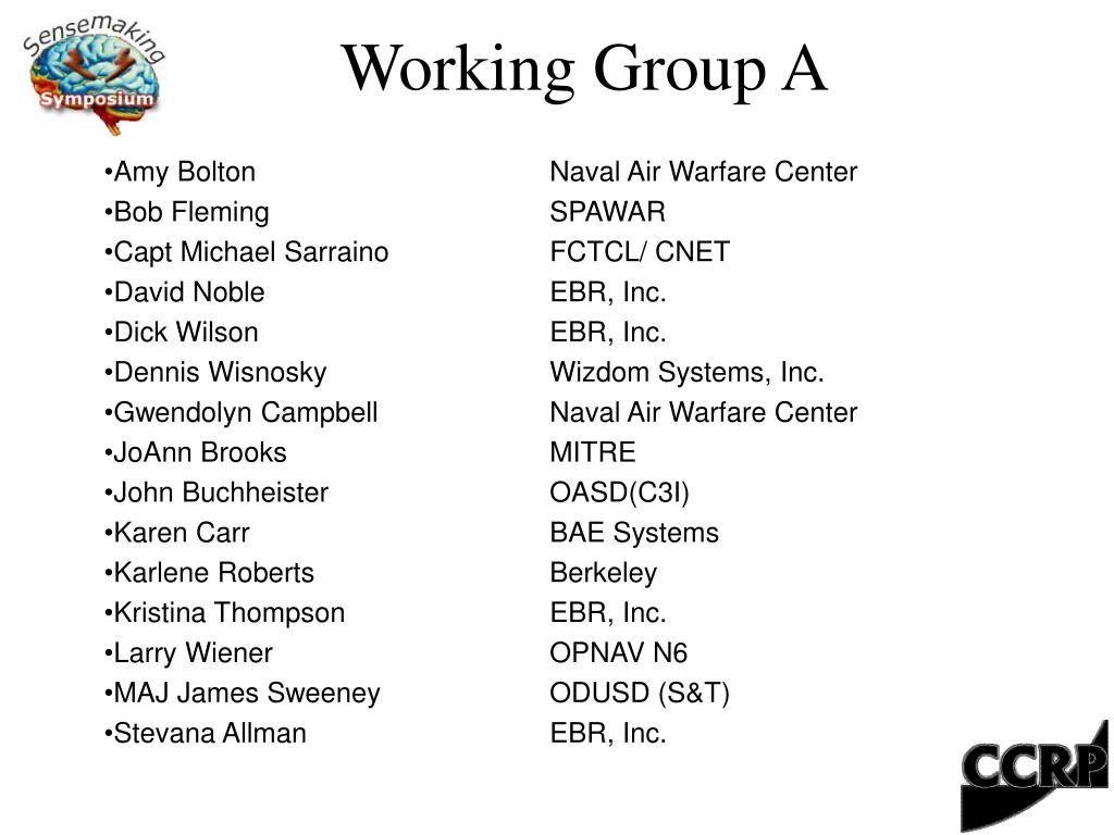 working group a l.