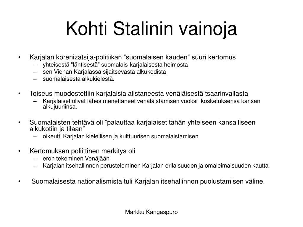 kohti stalinin vainoja l.