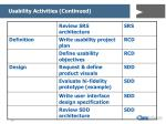 usability activities continued