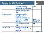 usability activities continued16