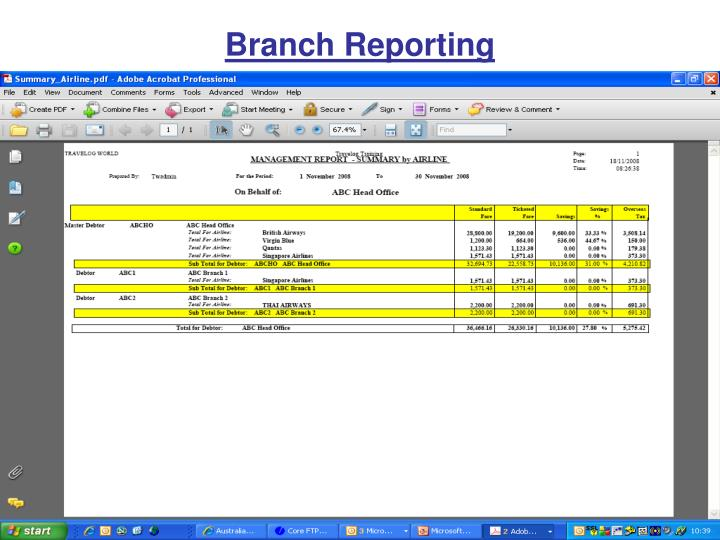 Branch reporting