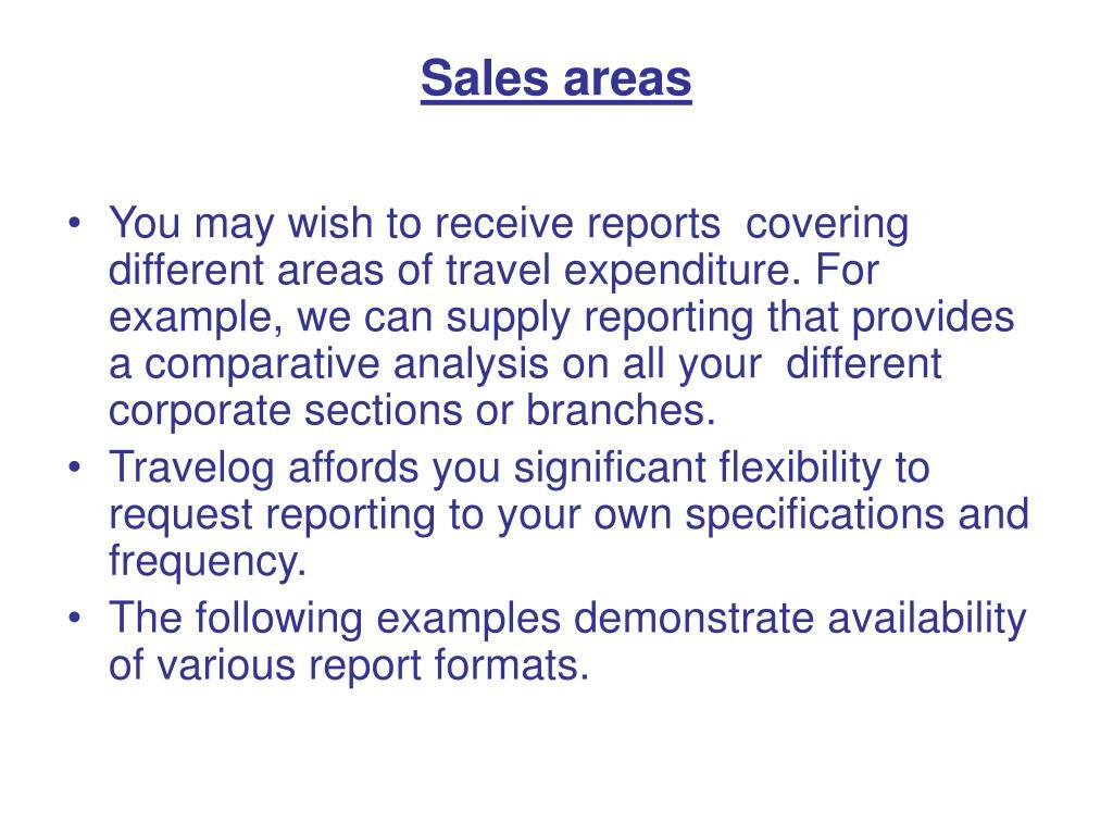 Sales areas