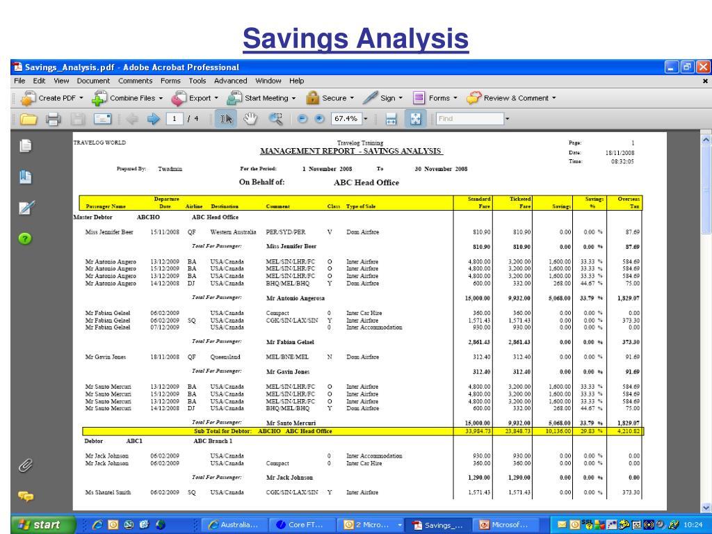 Savings Analysis