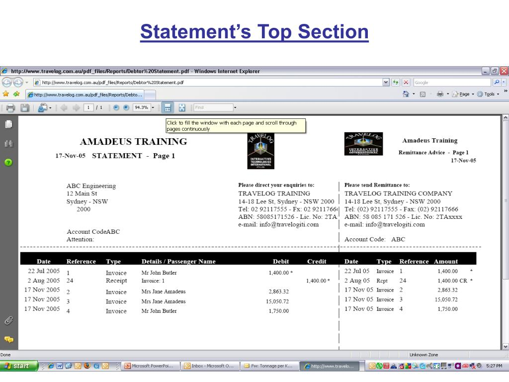 Statement's Top Section