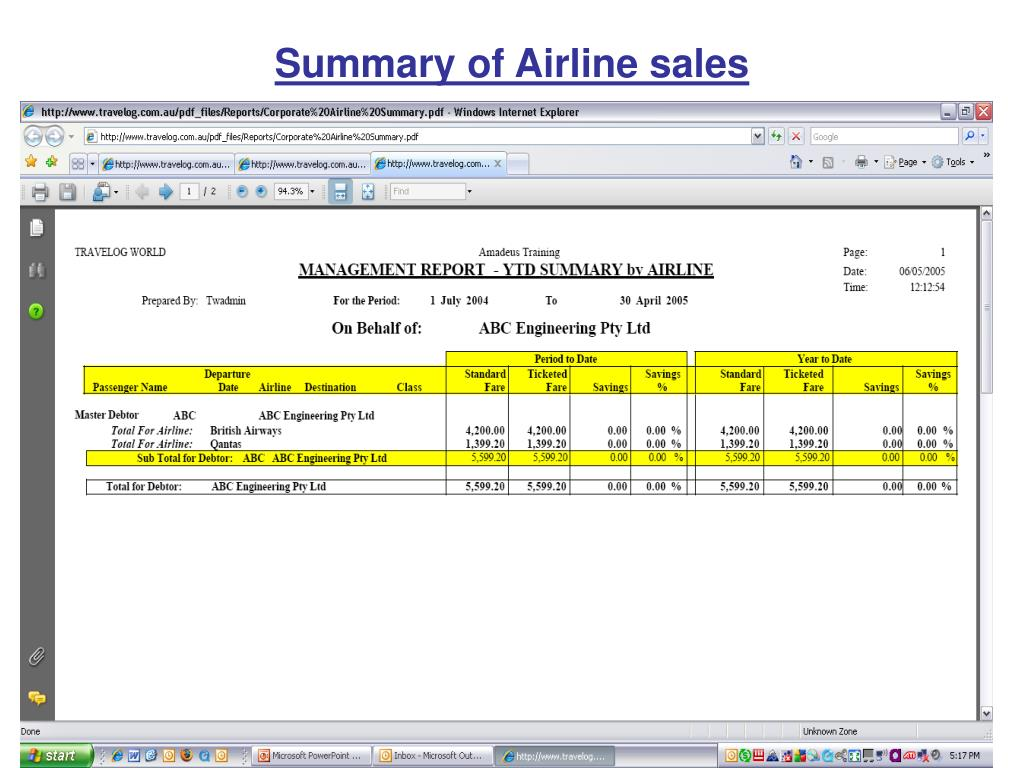 Summary of Airline sales