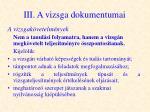 iii a vizsga dokumentumai