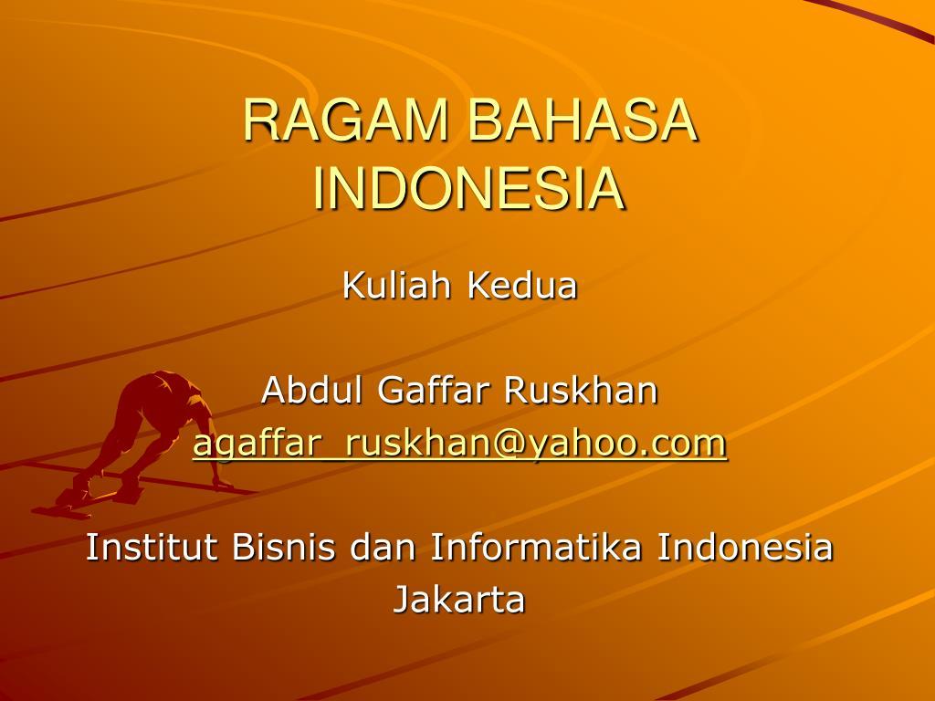 ragam bahasa indonesia l.