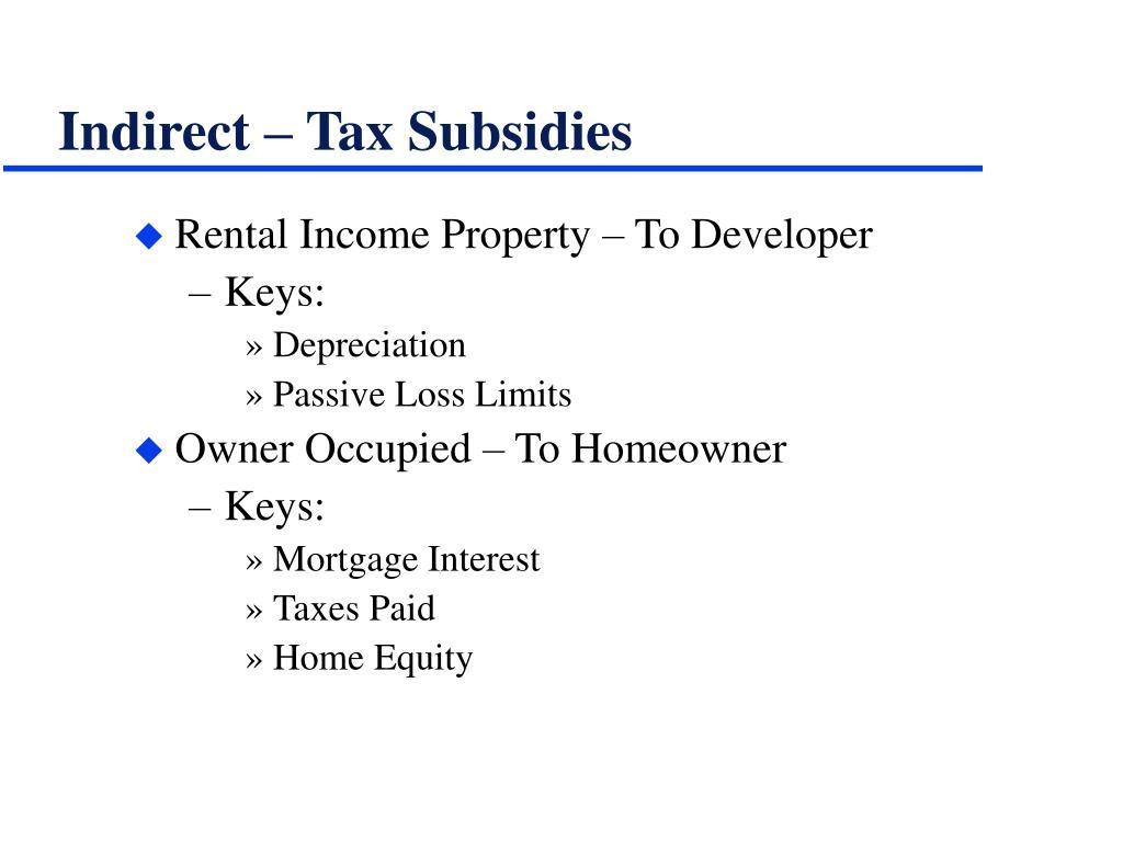 Indirect – Tax Subsidies