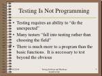 testing is not programming