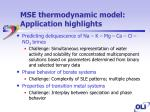 mse thermodynamic model application highlights