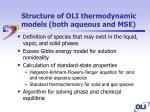 structure of oli thermodynamic models both aqueous and mse