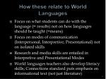 how these relate to world languages