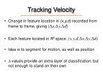 tracking velocity