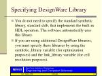 specifying designware library
