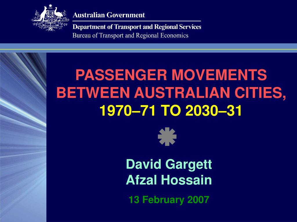 passenger movements between australian cities 1970 71 to 2030 31 l.