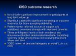 cisd outcome research