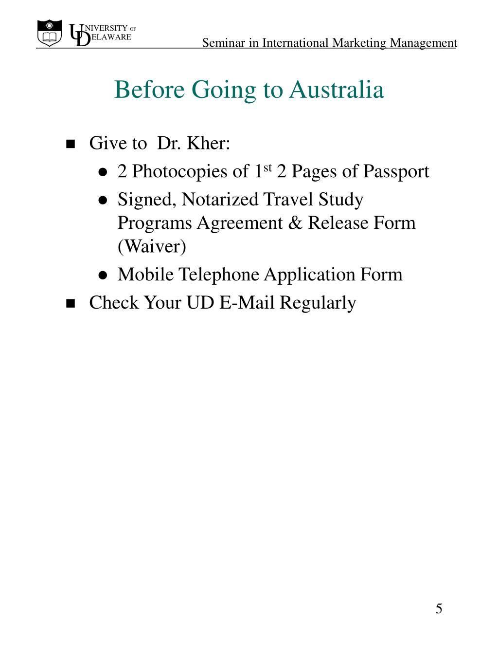 Before Going to Australia