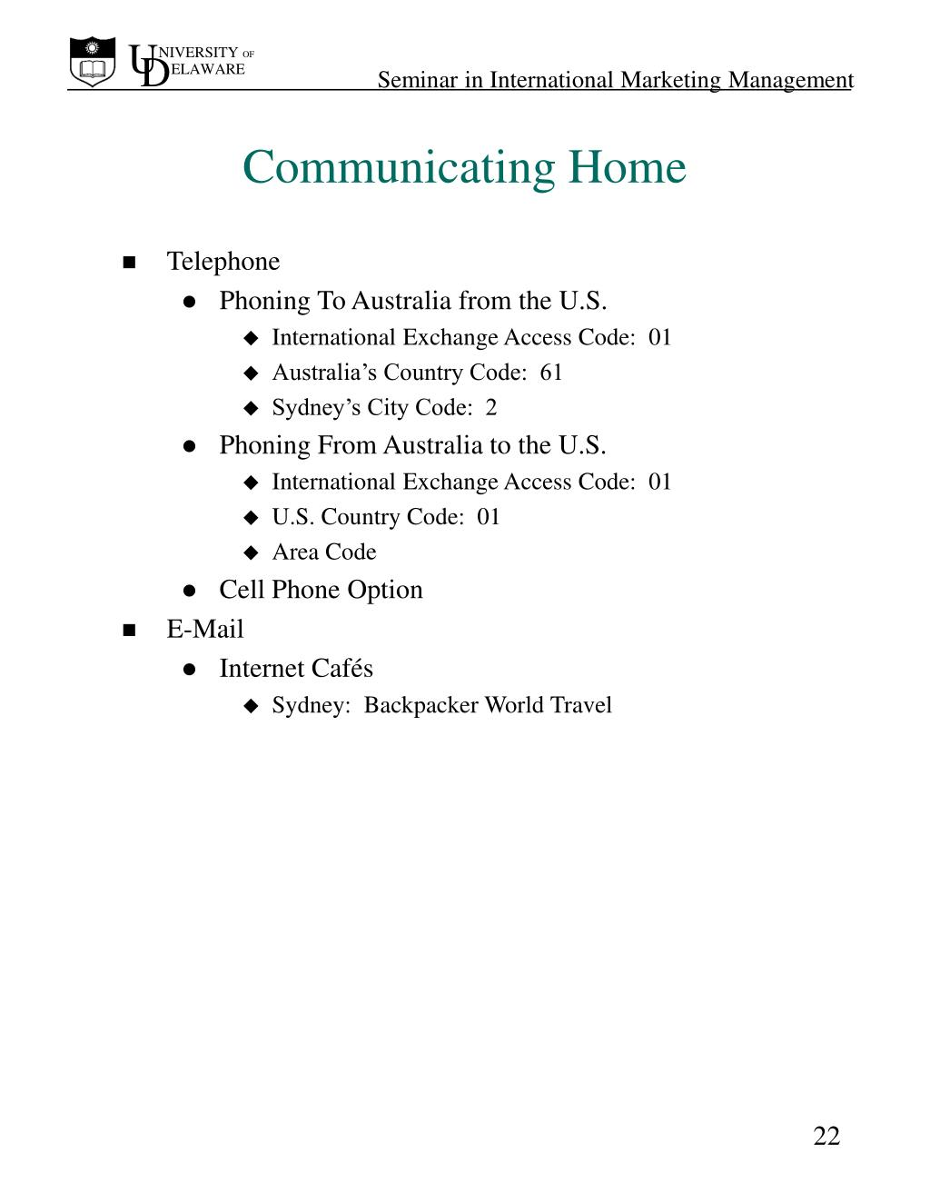 Communicating Home