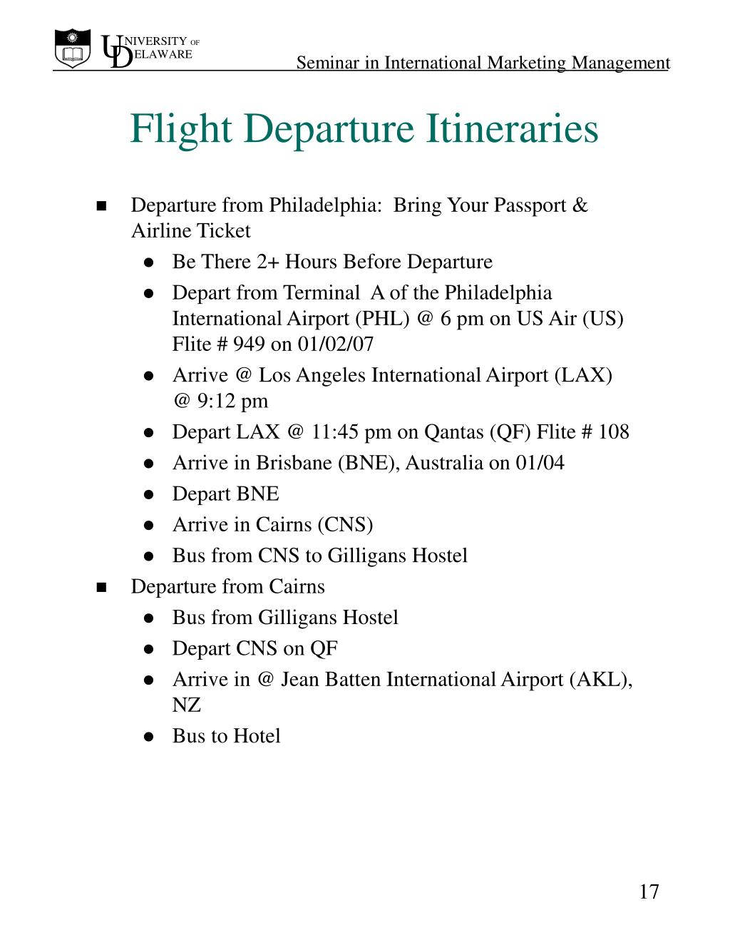 Flight Departure Itineraries