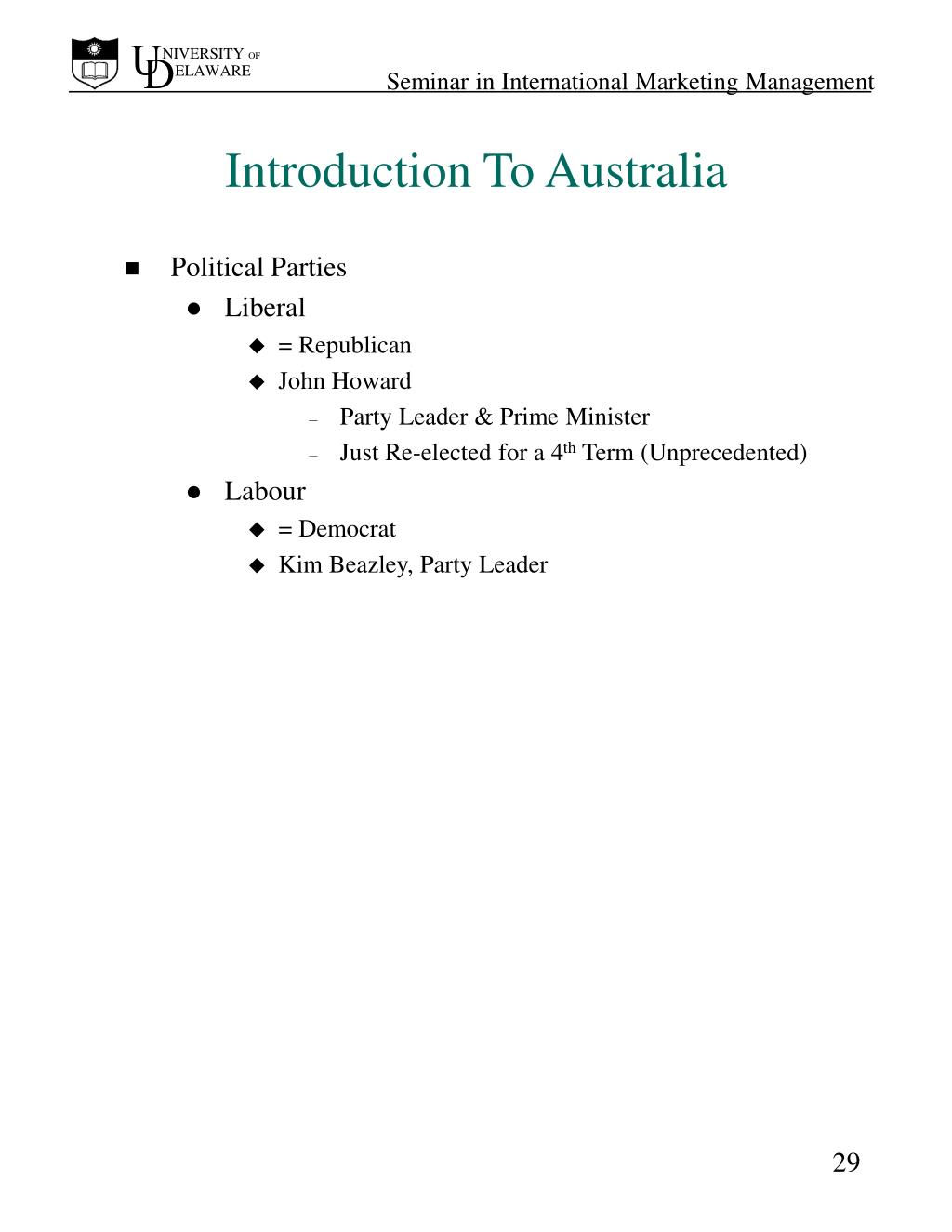 Introduction To Australia