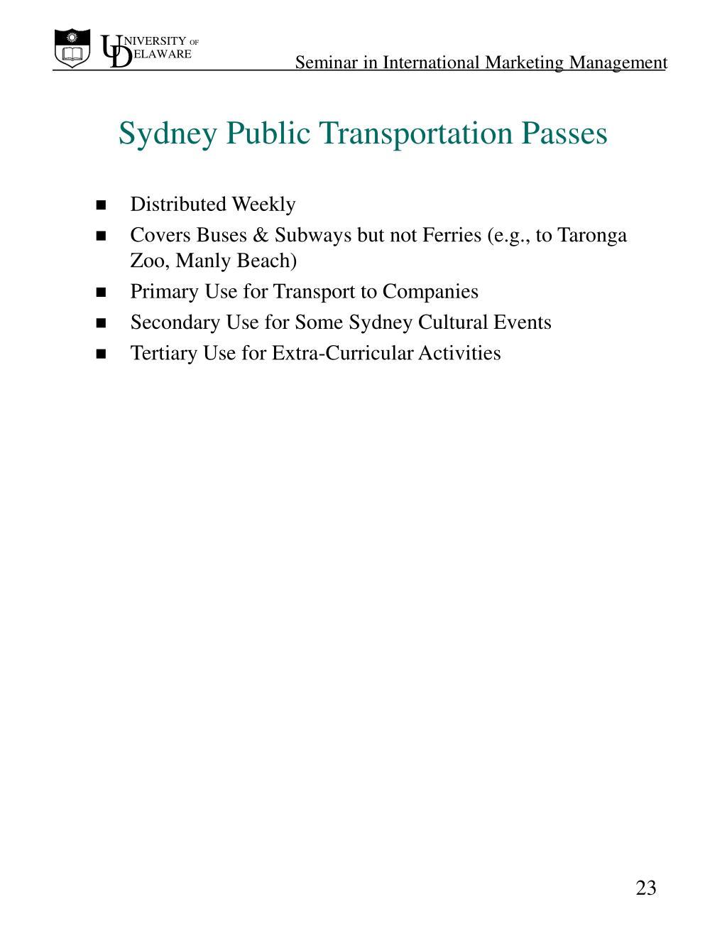 Sydney Public Transportation Passes