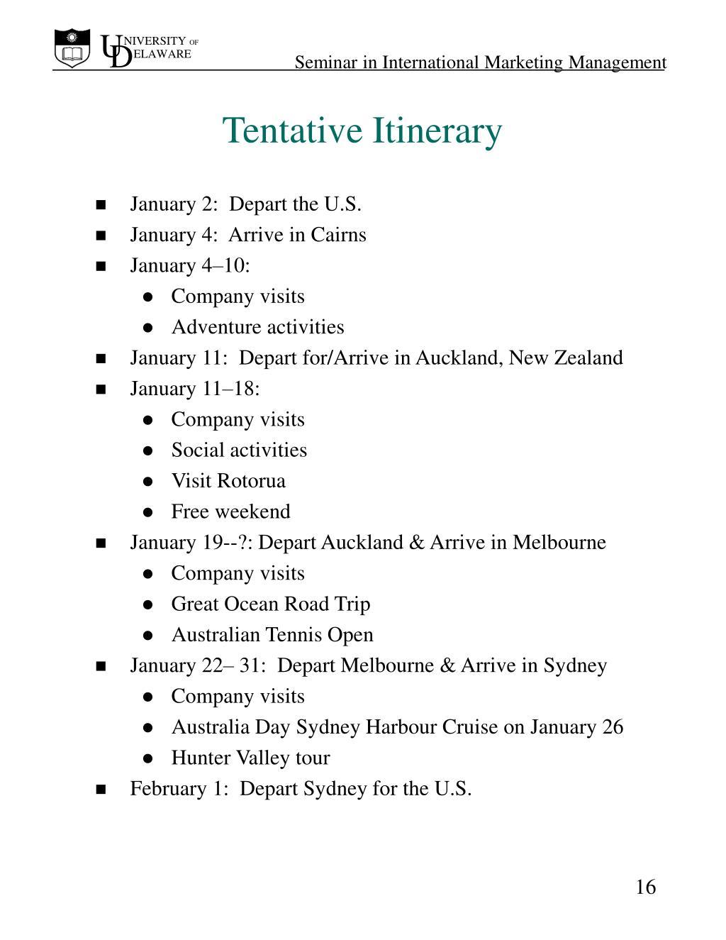 Tentative Itinerary