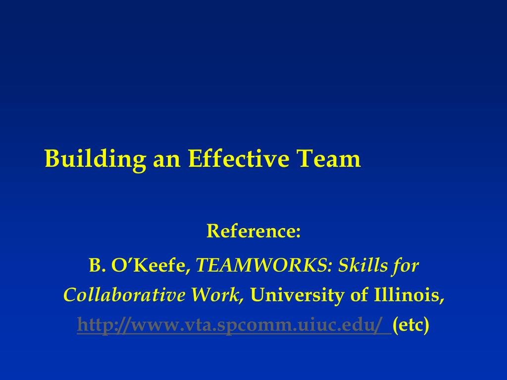 building an effective team l.