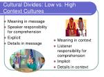 cultural divides low vs high context cultures