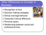other differences to consider in business