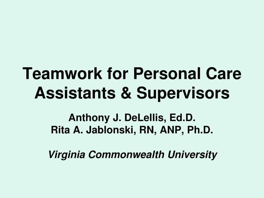 teamwork for personal care assistants supervisors l.
