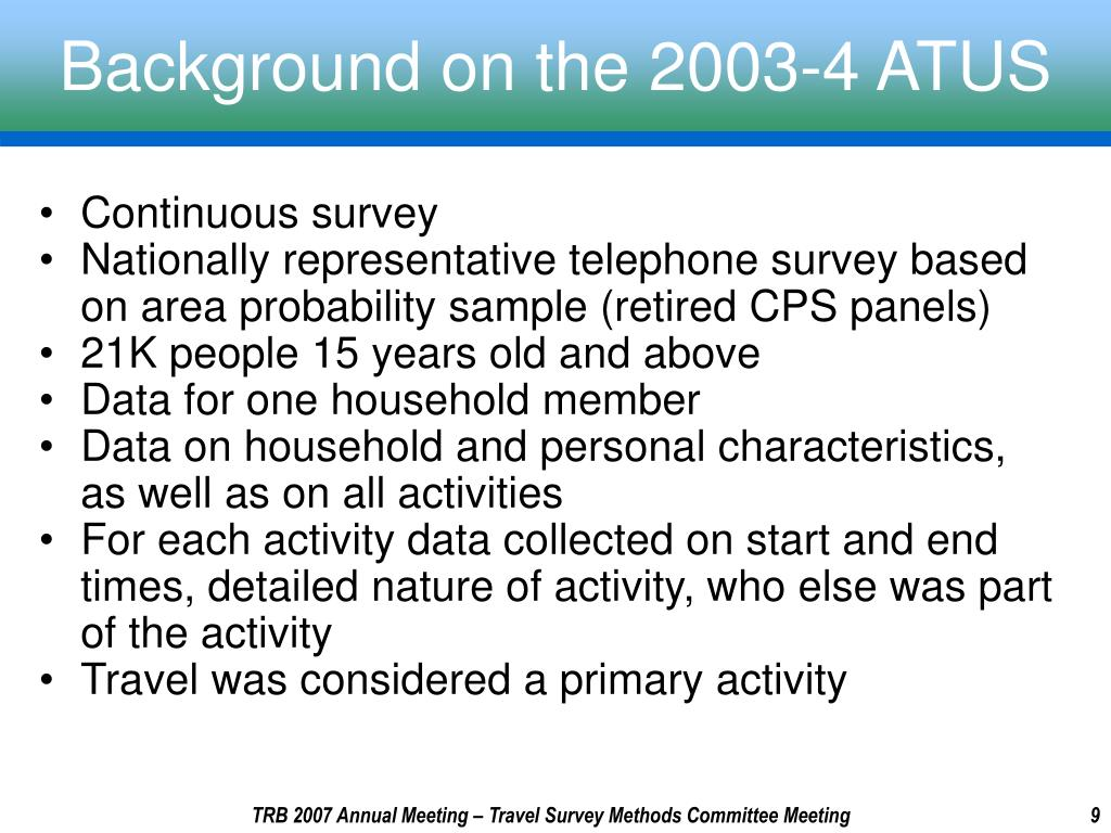 Background on the 2003-4 ATUS