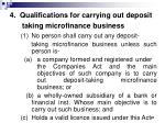 4 qualifications for carrying out deposit taking microfinance business