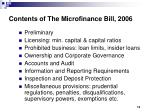 contents of the microfinance bill 2006