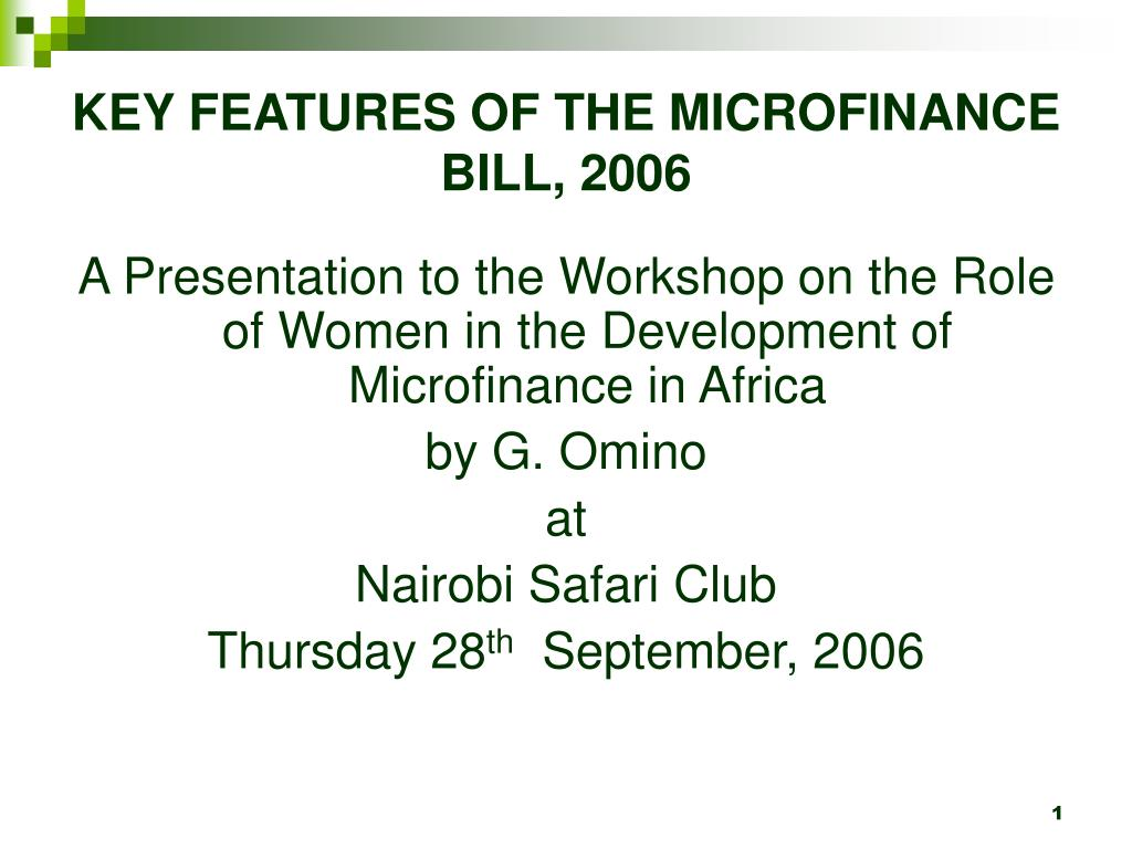 key features of the microfinance bill 2006 l.