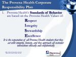 the provena health corporate responsibility plan
