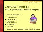 exercise write an accomplishment which begins
