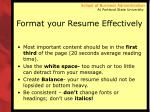 format your resume effectively