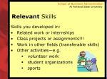 relevant skills