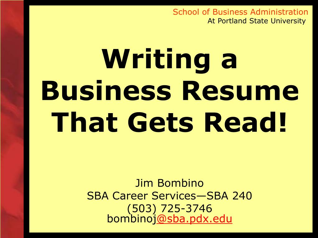 writing a business resume that gets read l.