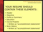 your resume should contain these elements