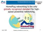 homeplug networking is the only globally recognized standard for high speed powerline networking