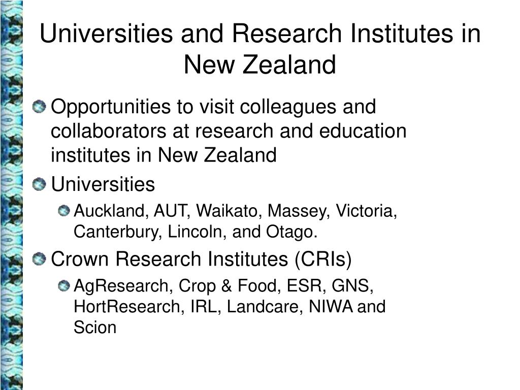 Universities and Research Institutes in New Zealand