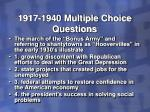 1917 1940 multiple choice questions