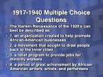 1917 1940 multiple choice questions29