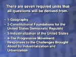 there are seven required units that all questions will be derived from